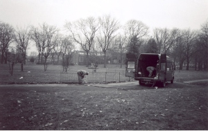 Workmen removing fencing from centre circle, 1992